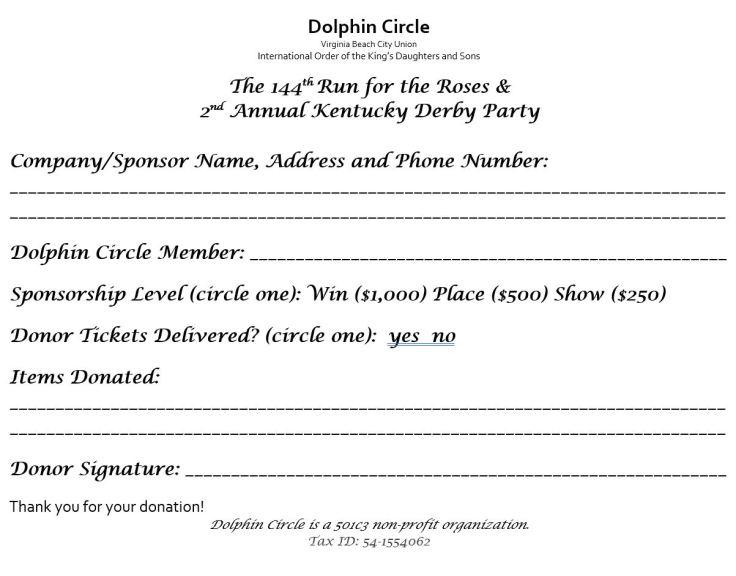 Dolphin Derby sponsor form 2